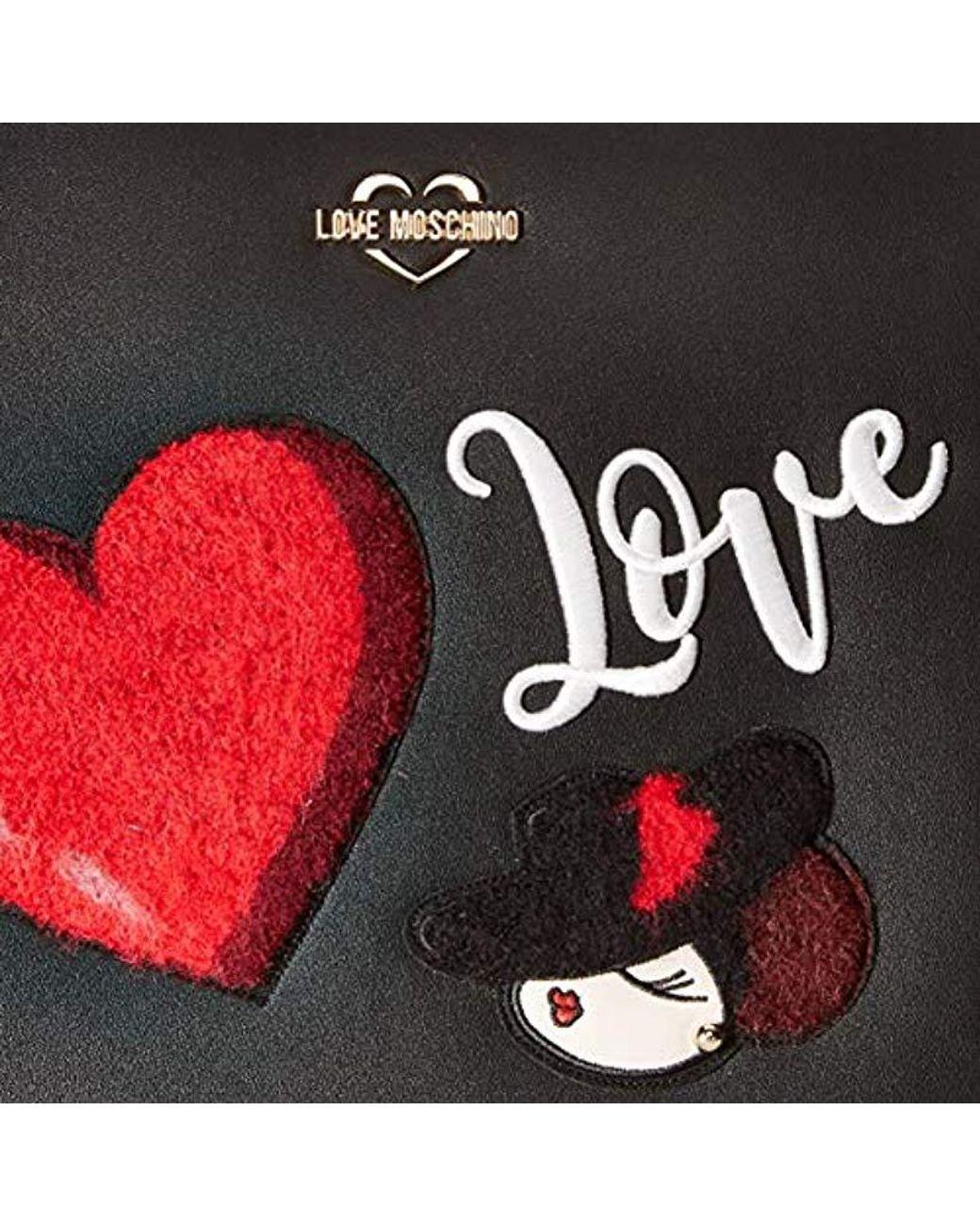 Love Moschino Studs Embroidery Borsa a mano nero