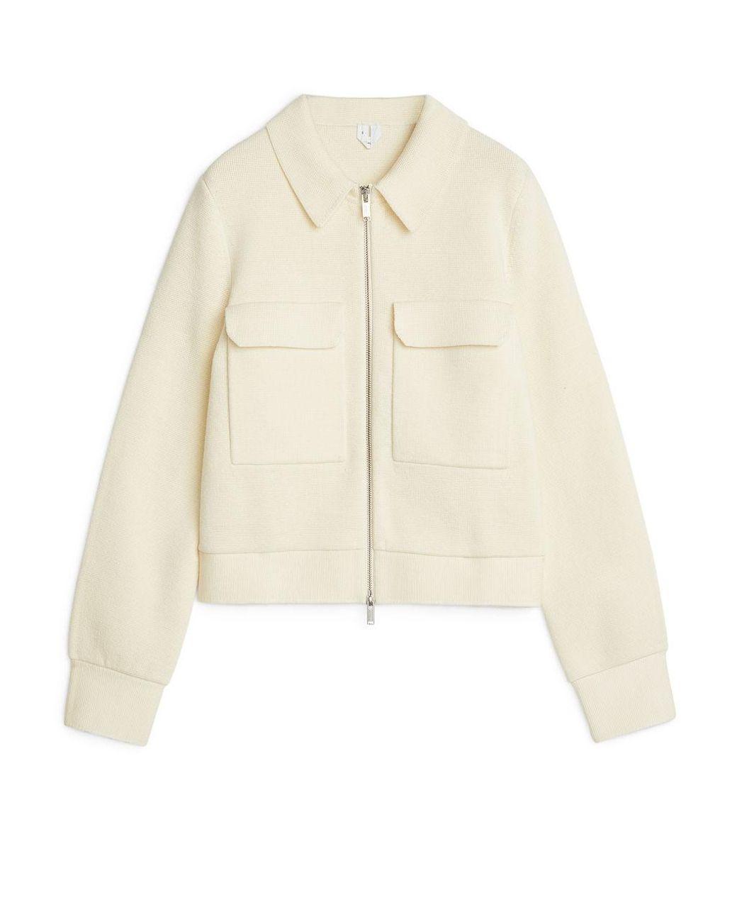 Arket Wool Boxy Merino Jacket In White Lyst
