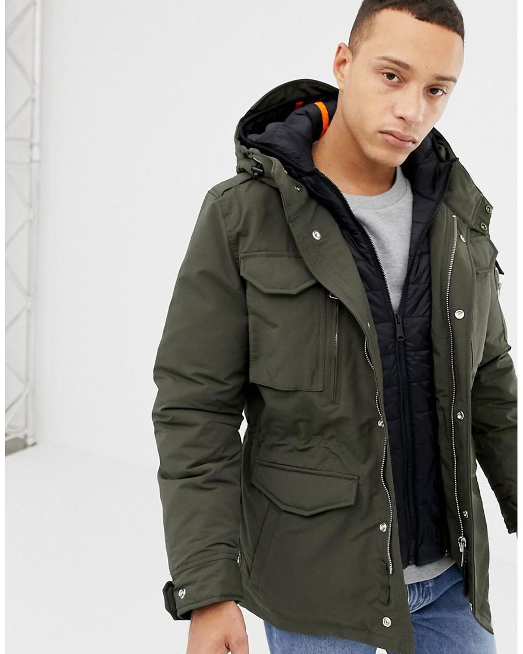 official photos 4e26f ecf42 Men's Smith 18 Detachable Quilted Hooded Insert M65 Parka Jacket Slim Fit  In Green/black