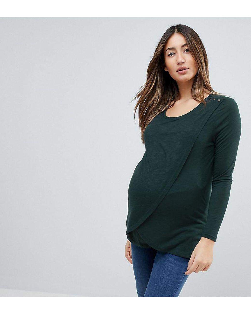 d37dafd0eb0 New Look Nursing Long Sleeve Wrap Top in Green - Lyst