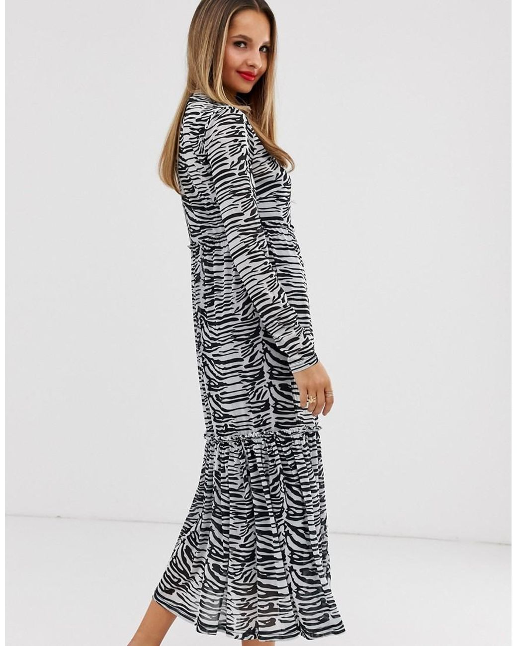 b70a8f72f5099 Vila Zebra Print Mesh Midi Dress - Lyst