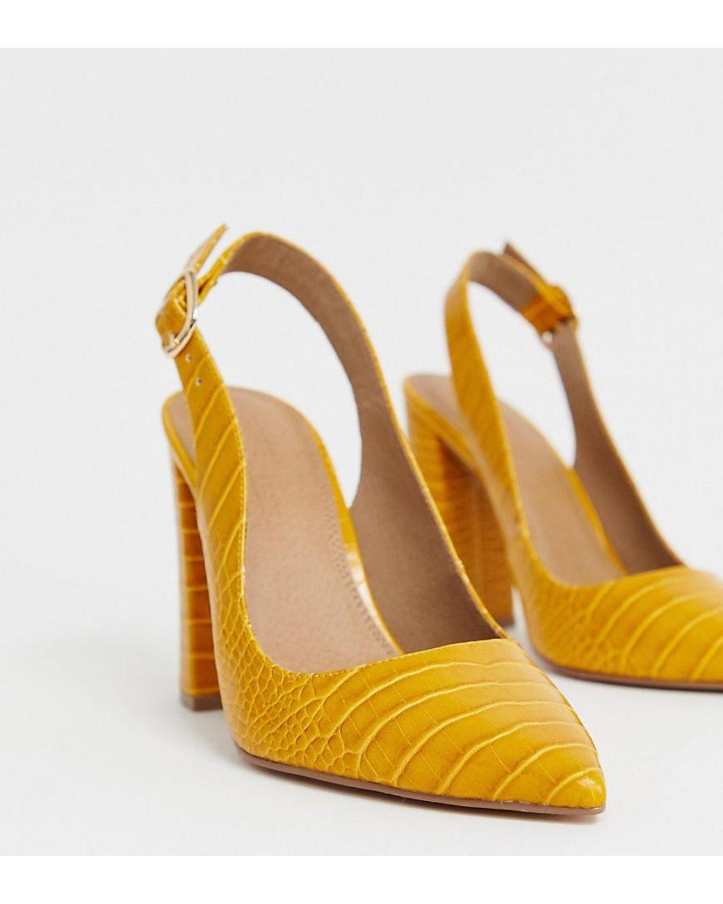 Wide Fit Penley Slingback High Heels In Croc Print