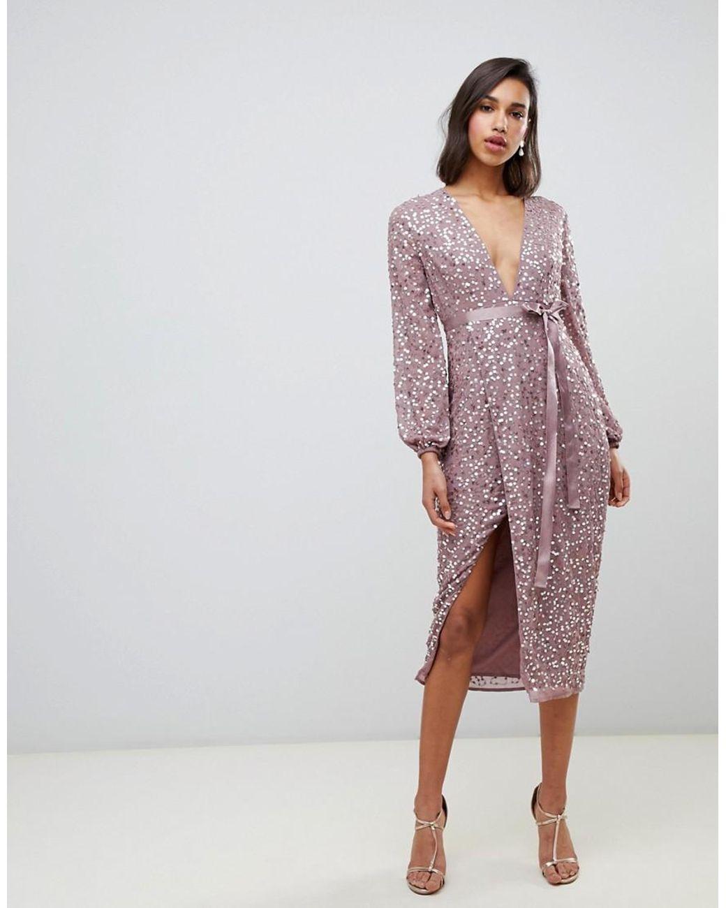 33980eb3adf6 Vestido midi con lentejuelas dispersas y lazo en la cintura de mujer de  color rosa
