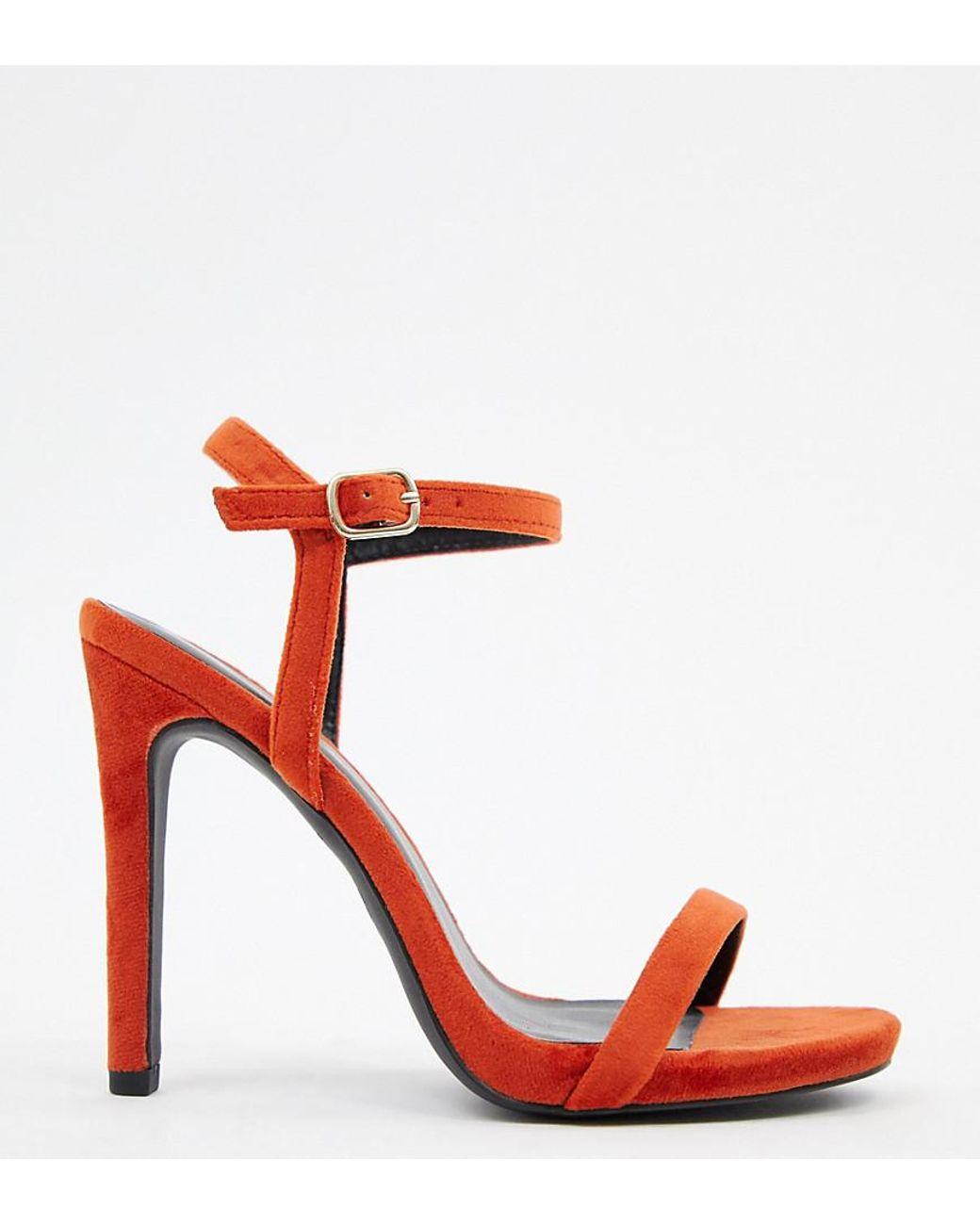 379e8e8717f Women's Red Velvet Heeled Sandal In Orange