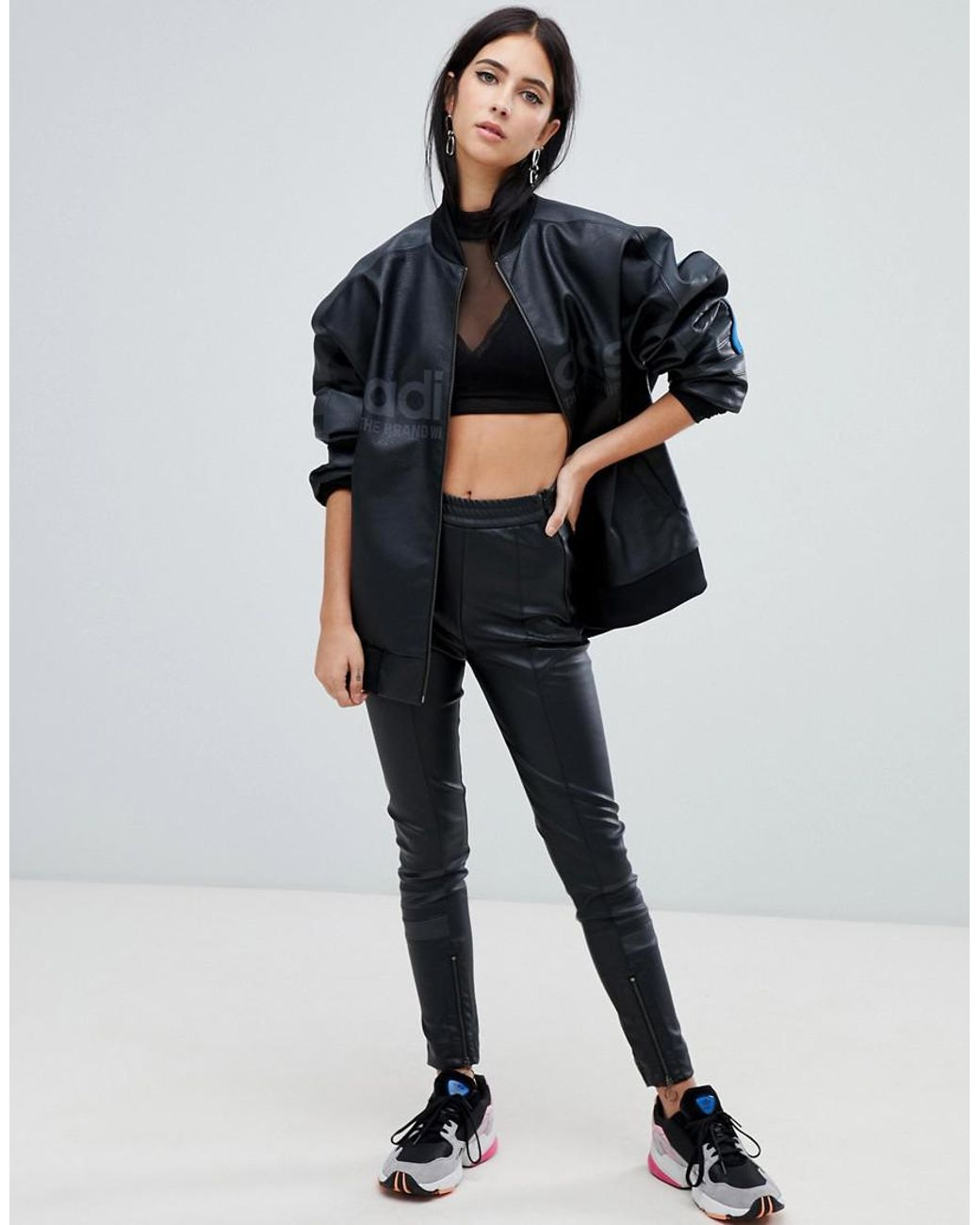 64fa0750cc0d Lyst - adidas Originals Aa-42 Faux Leather Pants In Black in Black