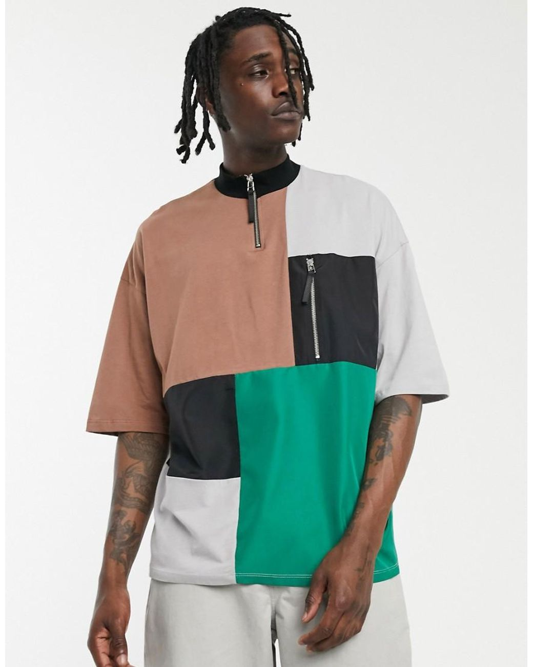 Image result for Multi Embroidered Grey Oversized T Shirt