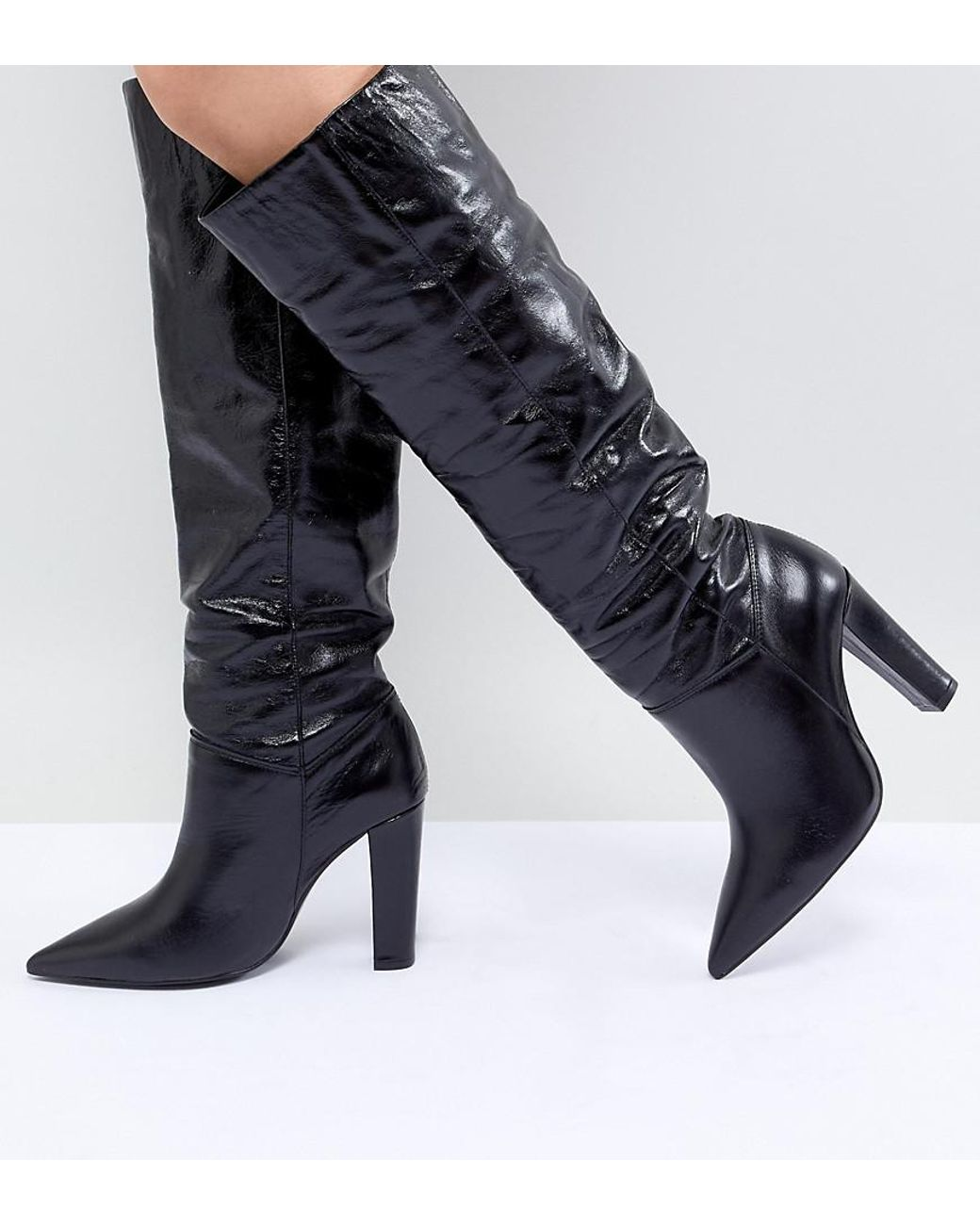 d3b1250c62f Mango Knee High Leather Boot in Black - Lyst