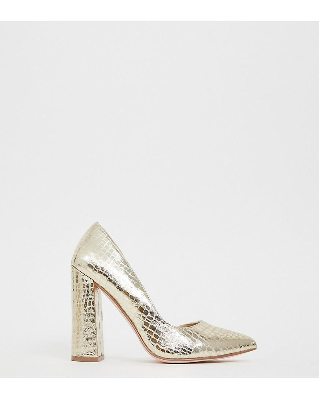 Wide Fit Walter D Orsay High Heels In Champagne Croc
