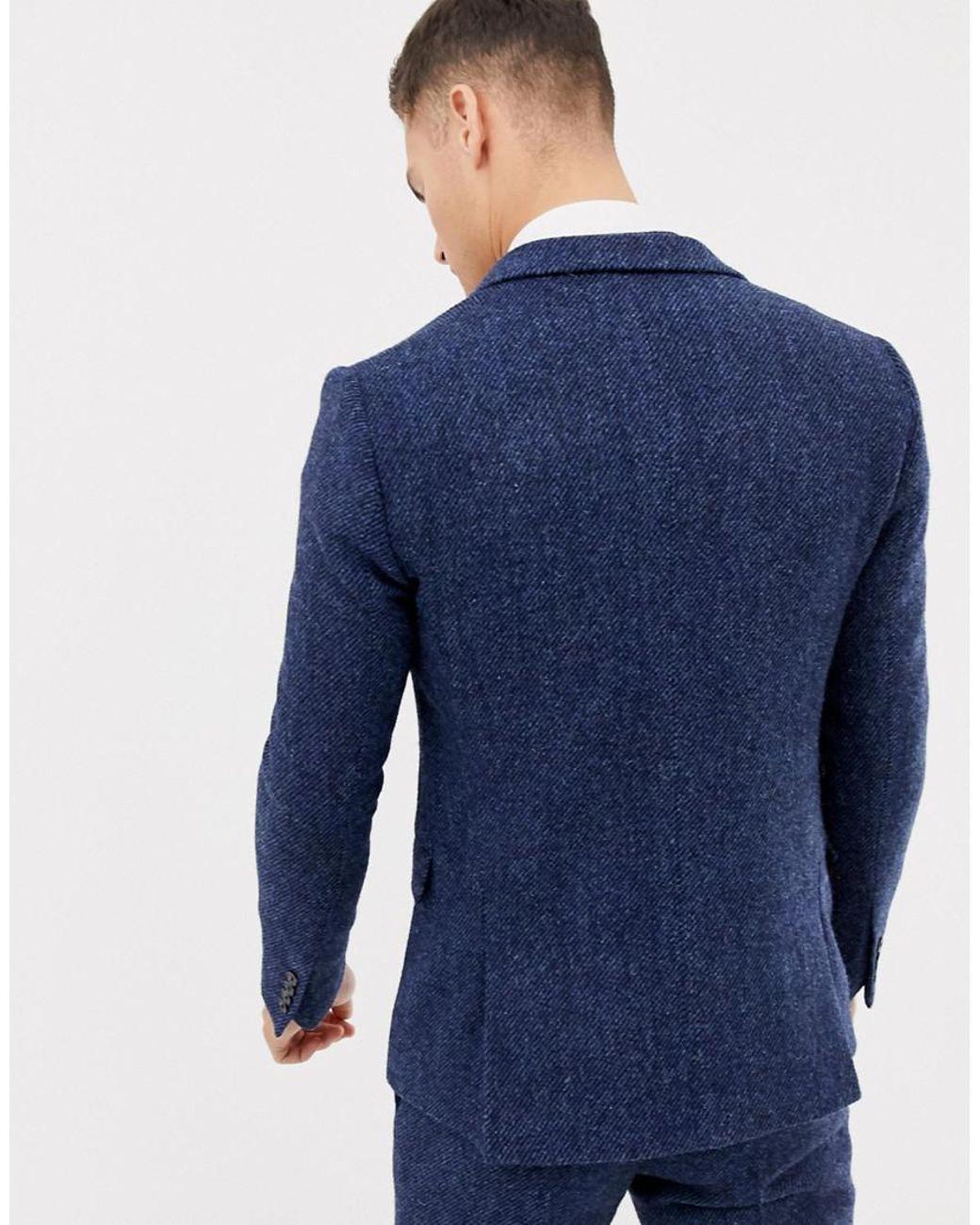 8a1d293d9c8f ASOS Wedding Slim Suit Jacket In 100% Wool Harris Tweed In Navy Twill in  Blue for Men - Lyst
