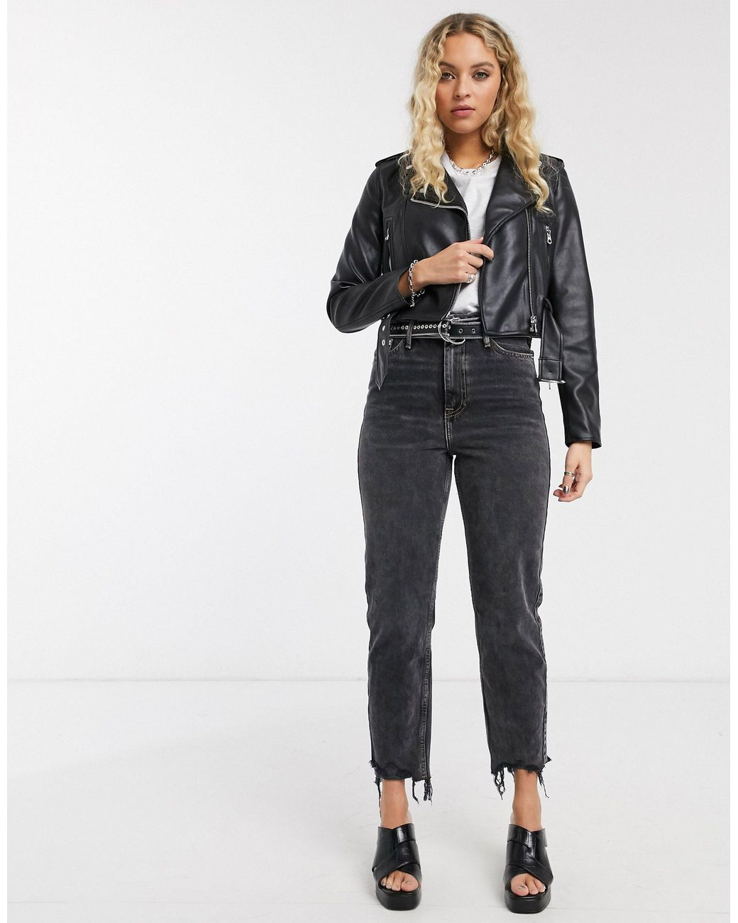 Bershka Synthetic Cropped Faux Leather Biker Jacket In Black Save 2 Lyst
