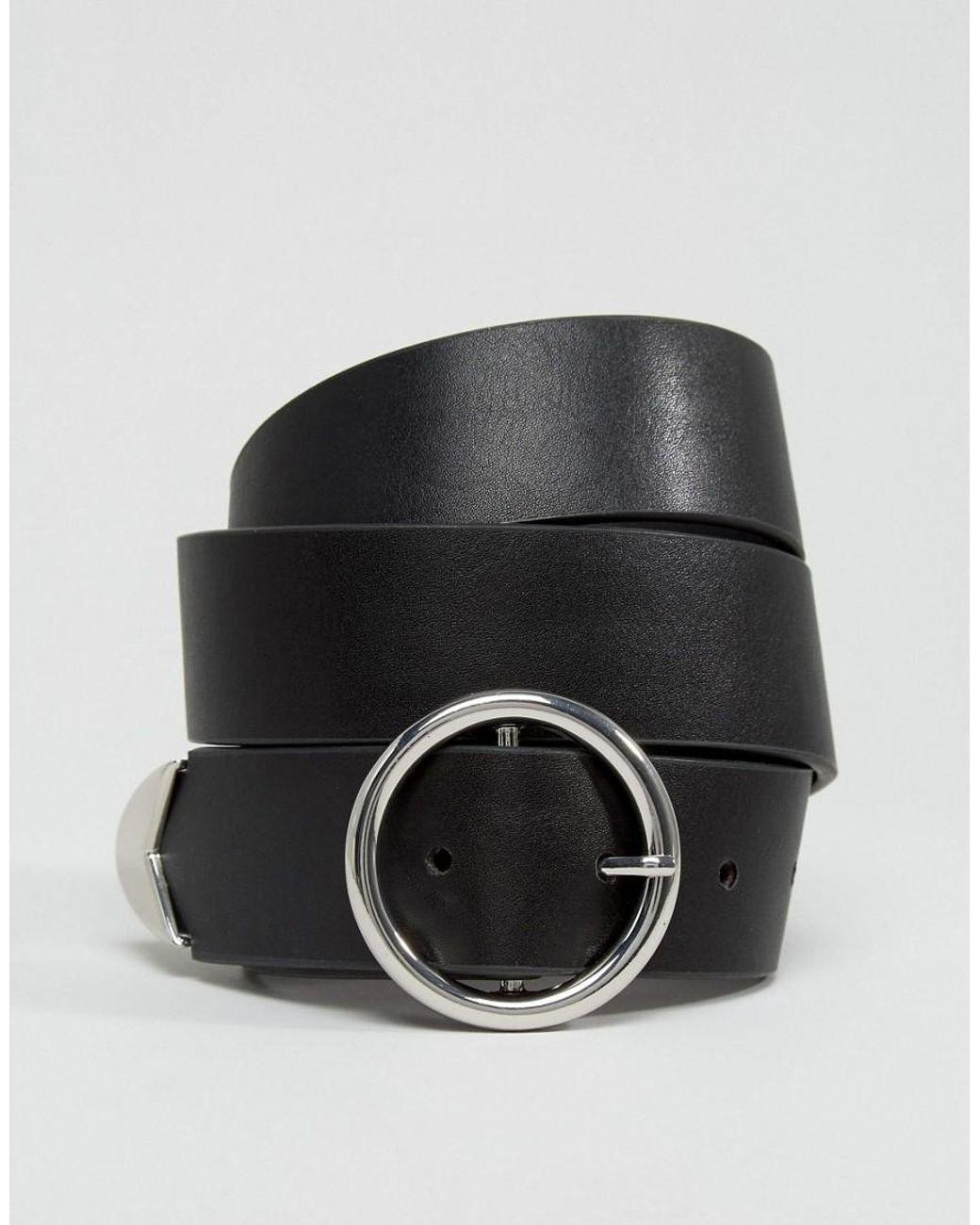 grand choix de officiel de vente chaude acheter en ligne Ceinture pour jean avec boucle circulaire et embouts fantaisie femme de  coloris noir