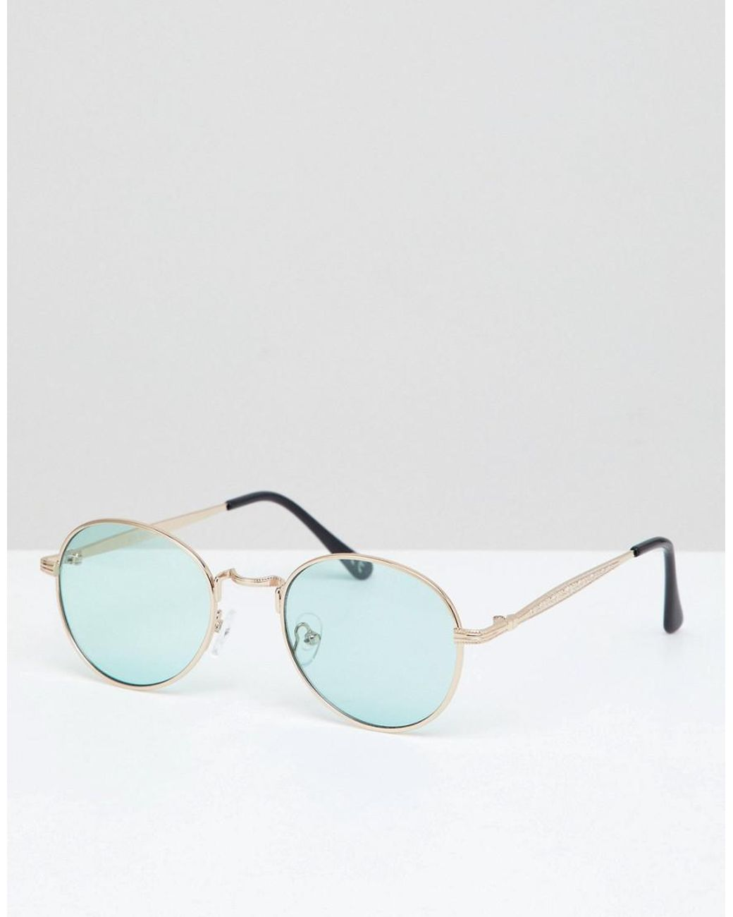 7f3d6763a9821 Long-Touch to Zoom. Long-Touch to Zoom. 1  2. ASOS - Metallic Metal Round  Sunglasses In Gold With Green Lens for Men - Lyst ...