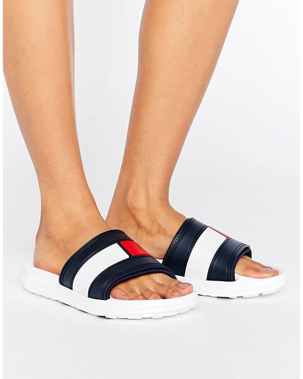 Tommy Hilfiger Flag Slider Sandals in Blue Lyst
