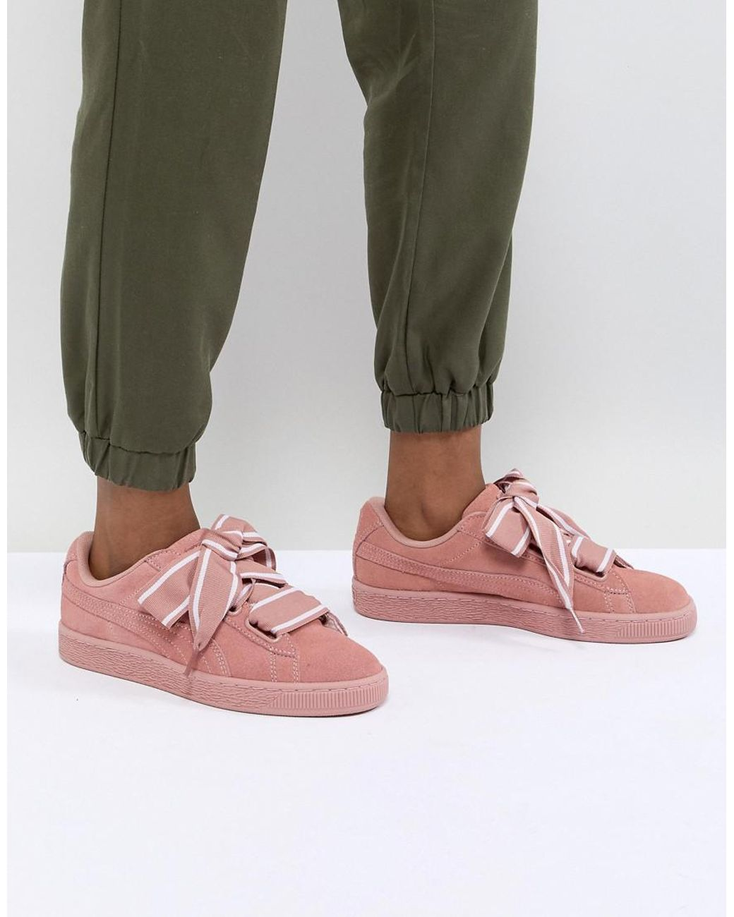 PUMA Basket Heart Satin Shoes (trainers) in Pink Lyst