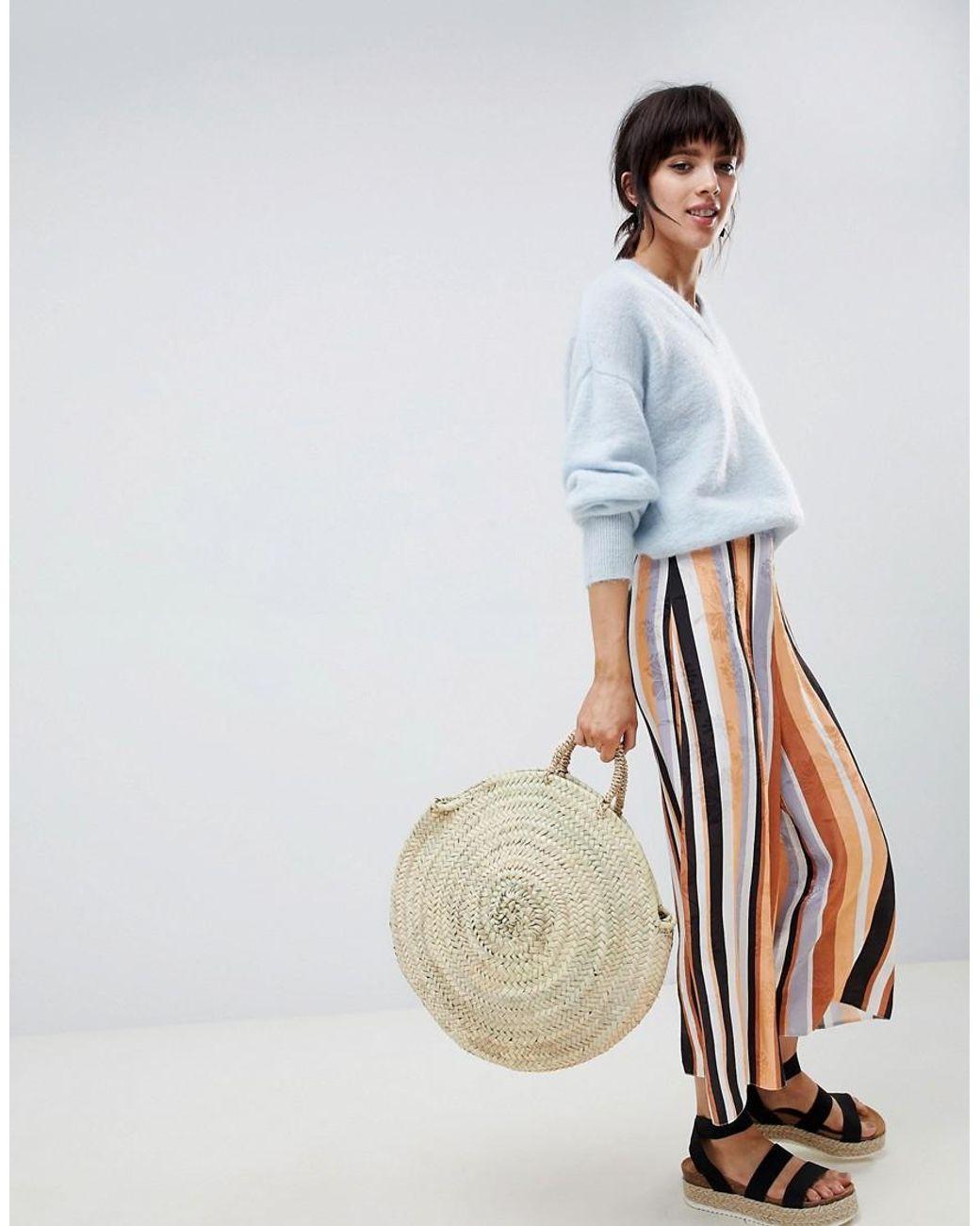 Jupe culotte ajustée en jacquard souple à rayures