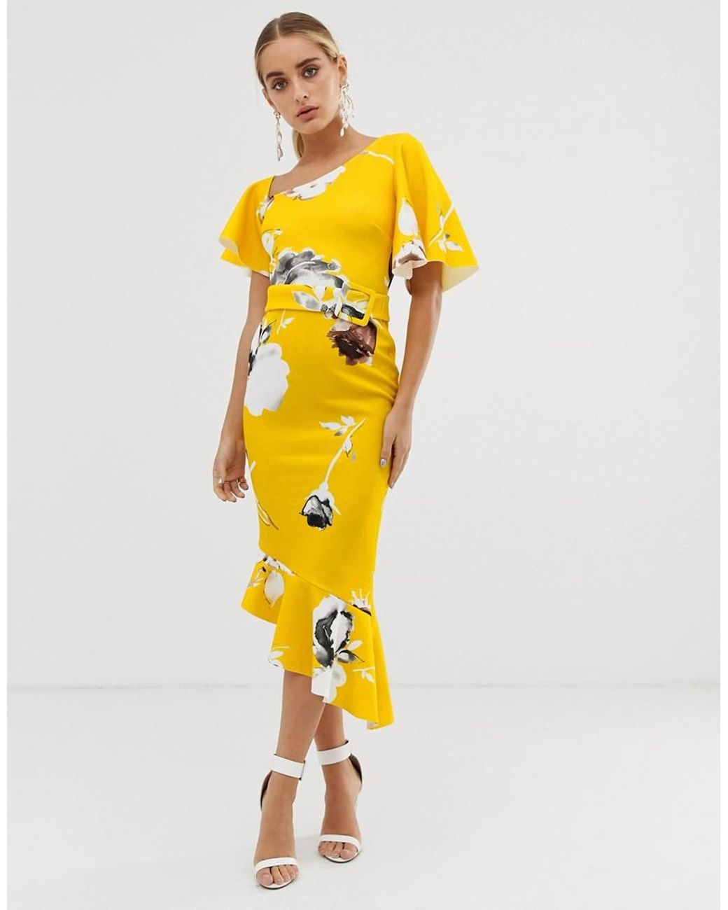 40e651857 Women's Yellow One Shoulder Belted Floral Ruffle Midi Dress