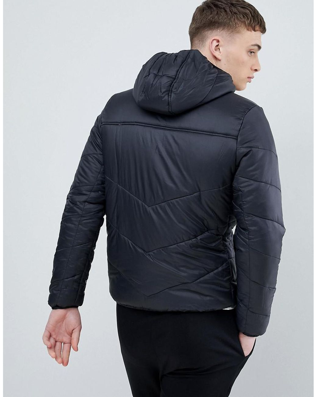d11d3d04e Kappa Padded Jacket With Hood Branding in Black for Men - Lyst