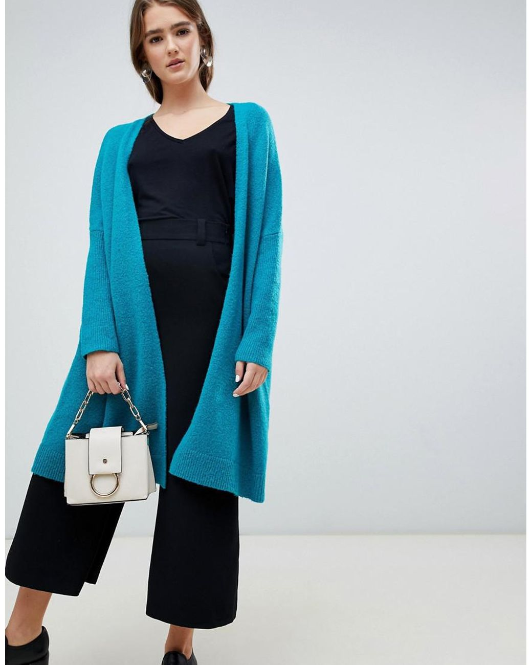 6de23188e164 Lyst - ASOS Eco Oversize Cardigan In Fluffy Yarn in Green