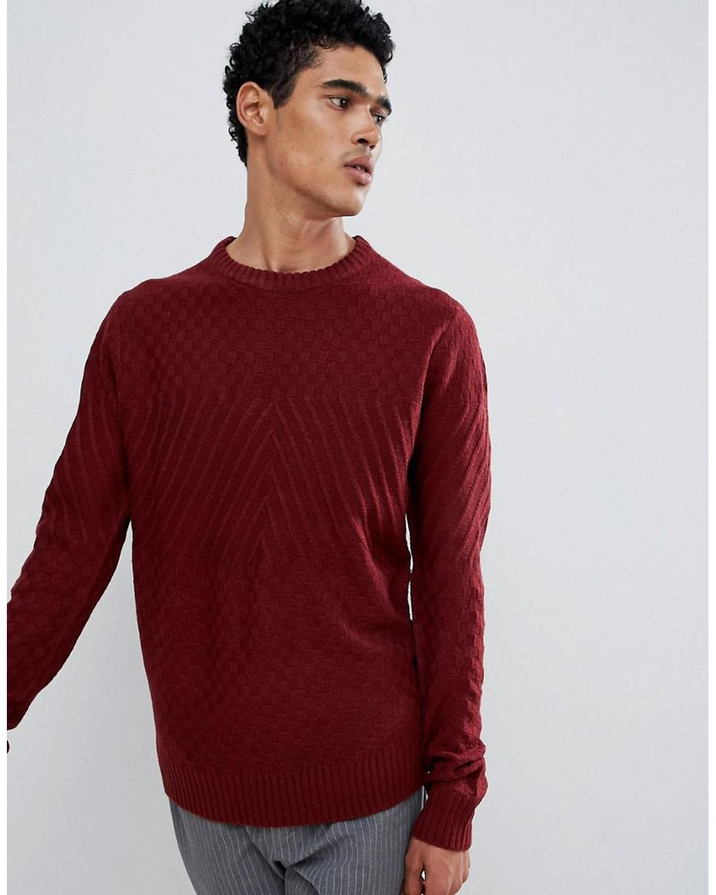 Tokyo Laundry Mens Crew Neck Jumper Wool Blend Acrylic Knitted Stripe Pullover