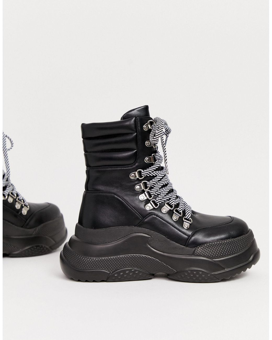 Black Chunky Lace Up Hiker Boot