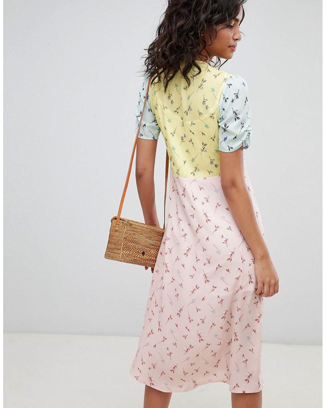 Jessica Naomee midi mixed print pretty tea dress