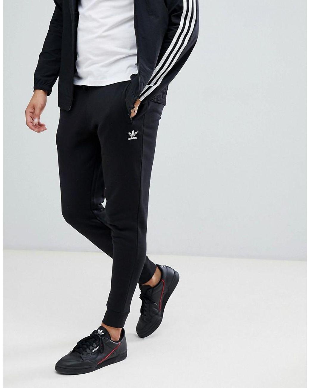 adidas originals hochwertige enge jogginghose in schwarz