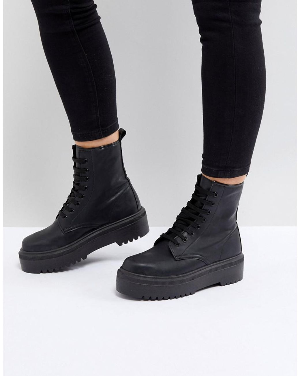 5c906abeadf Women's Black Attitude Wide Fit Chunky Lace Up Boots