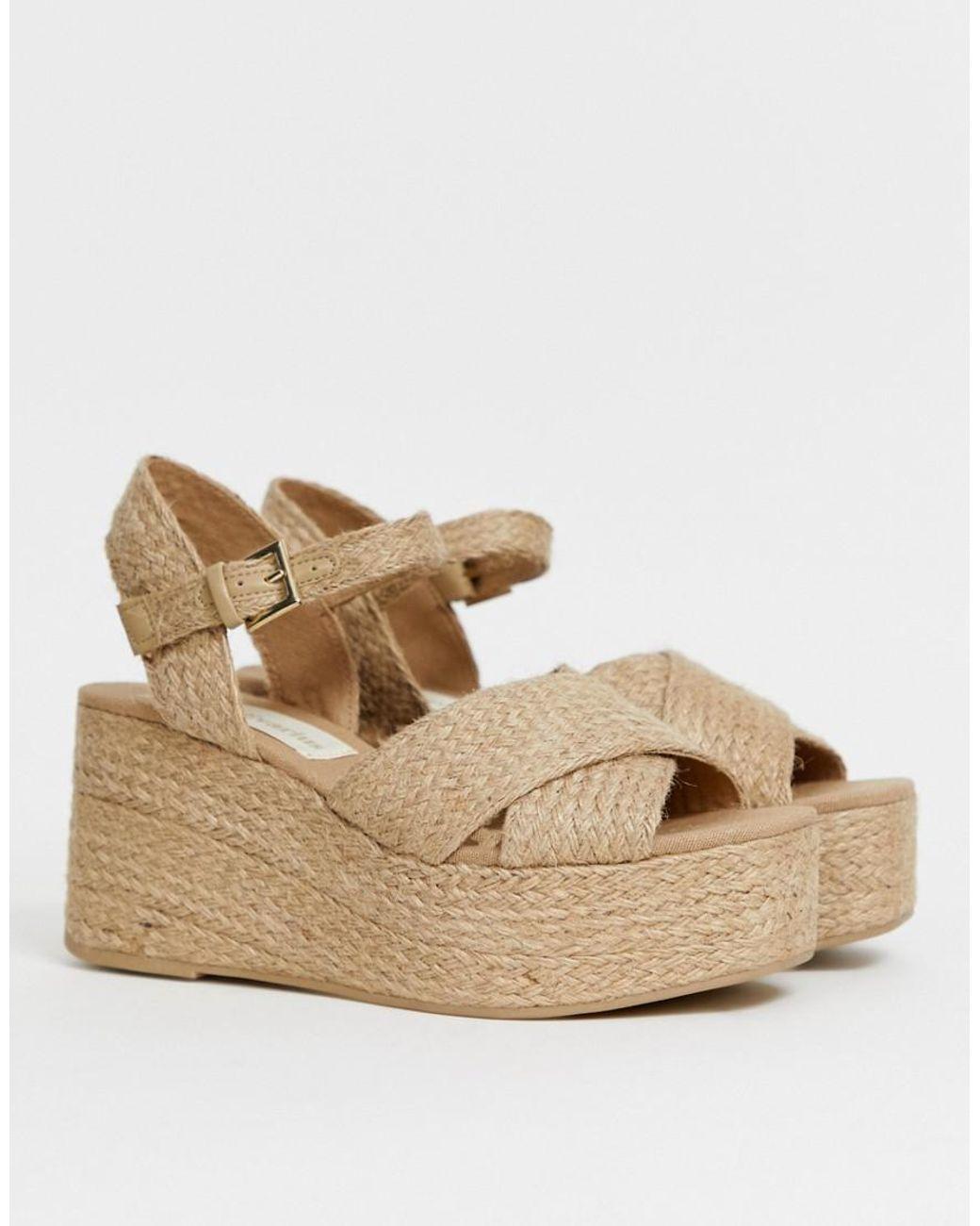 Beis Mujer Diseño Sandalias Con De Cuña Cruzado Rafia mNnvw80