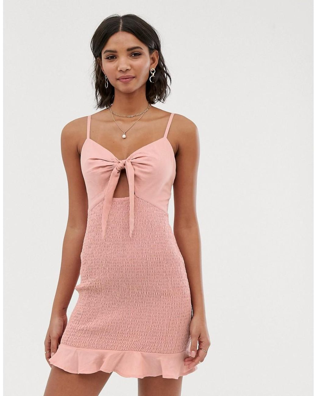 c996466be1f ASOS Bow Front Mini Sundress With Shirred Skirt in Pink - Lyst