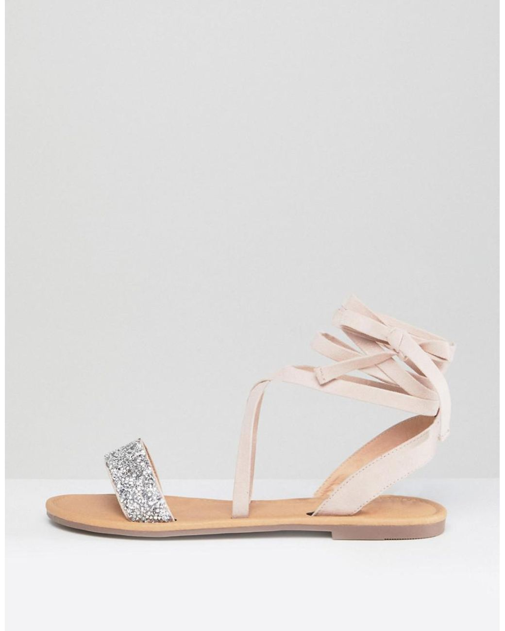 b6548a38d ASOS Asos Fi Embellished Flat Sandals in Natural - Lyst
