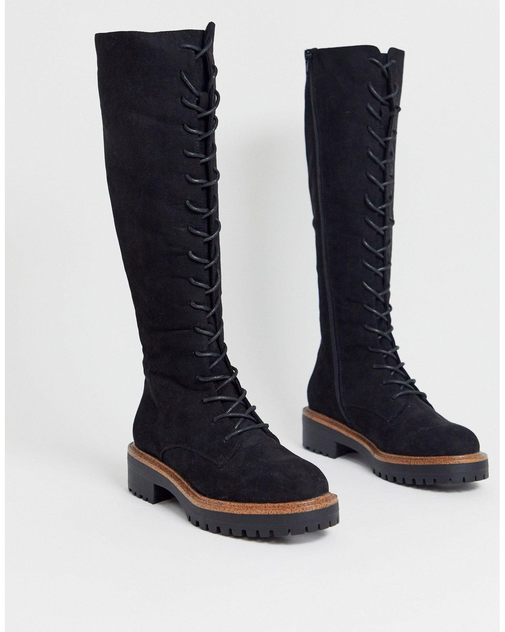 ASOS Courtney Chunky Lace Up Knee High