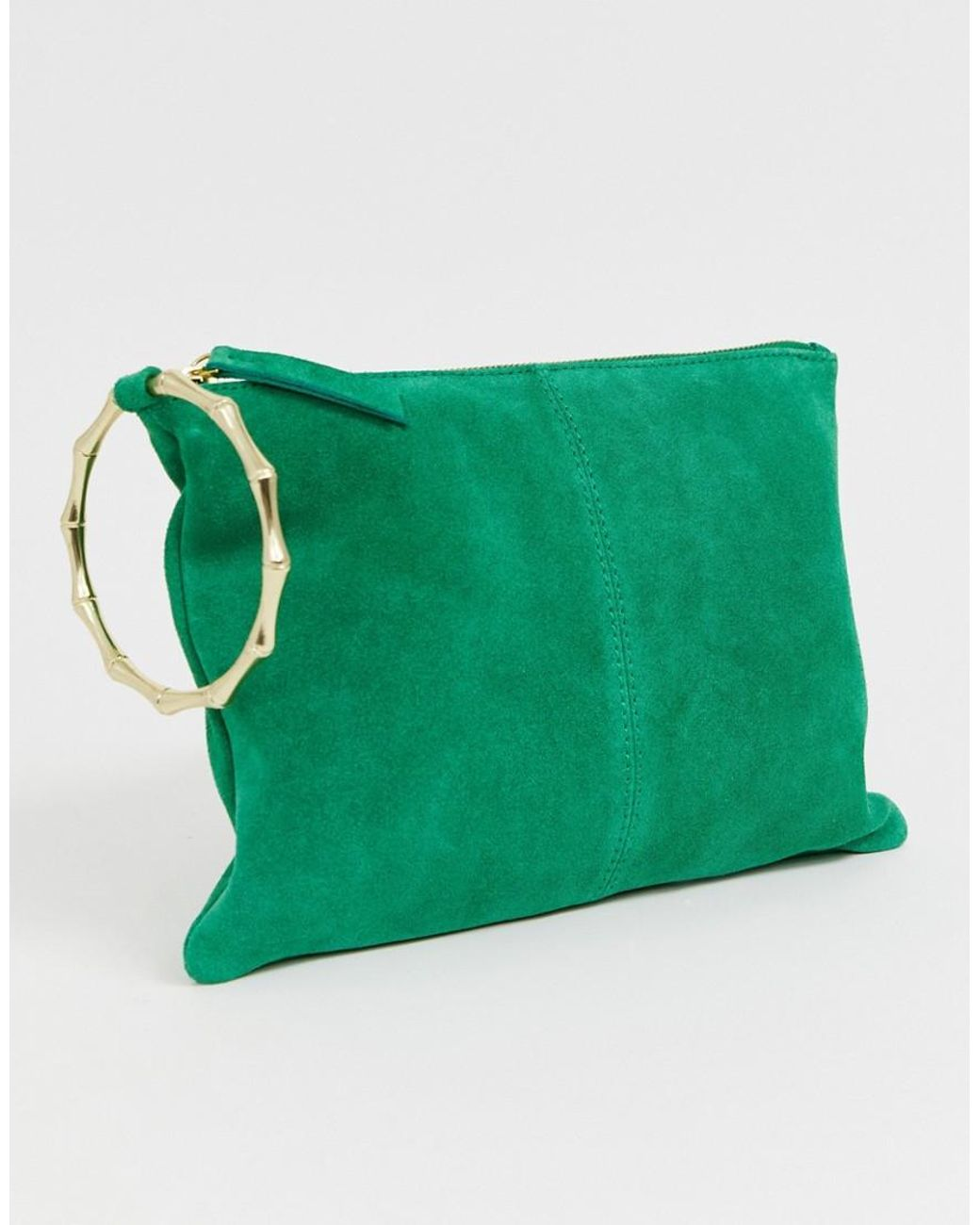 Suede Clutch Bag With Bamboo Ring