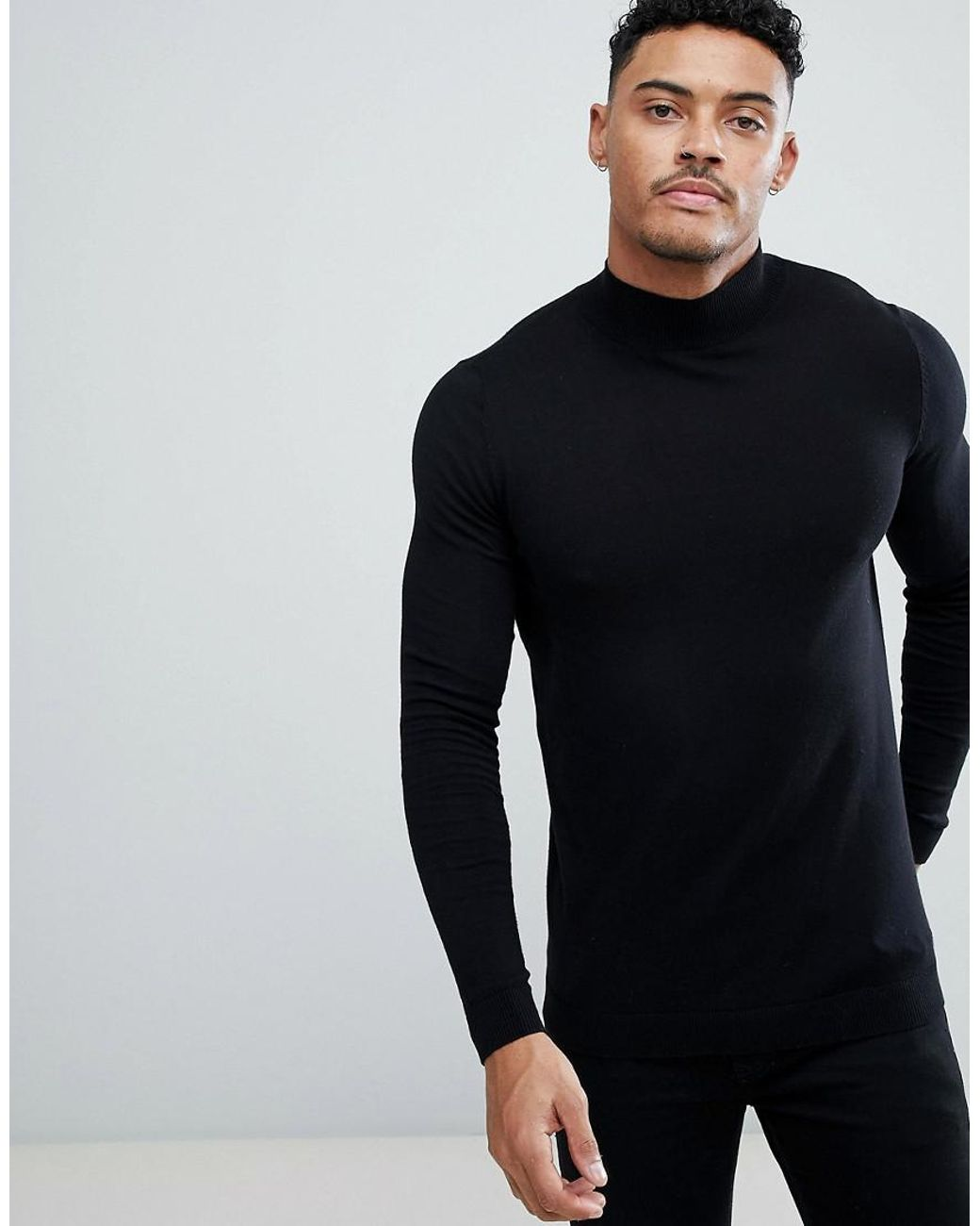ffb32c32d41f ASOS Muscle Fit Turtle Neck Jumper In Black in Black for Men - Lyst