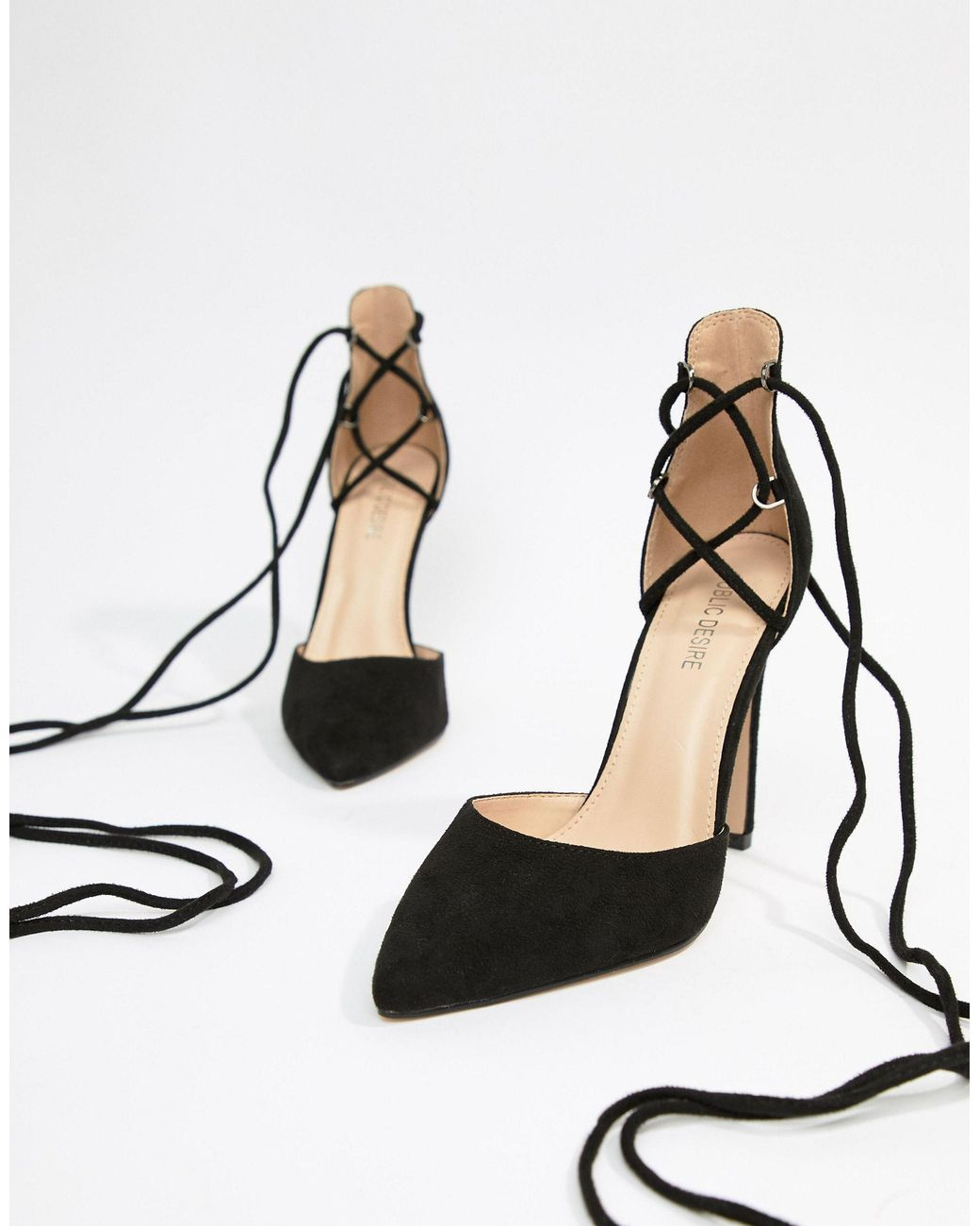 Classy Black Tie Up Heeled Shoes - Lyst