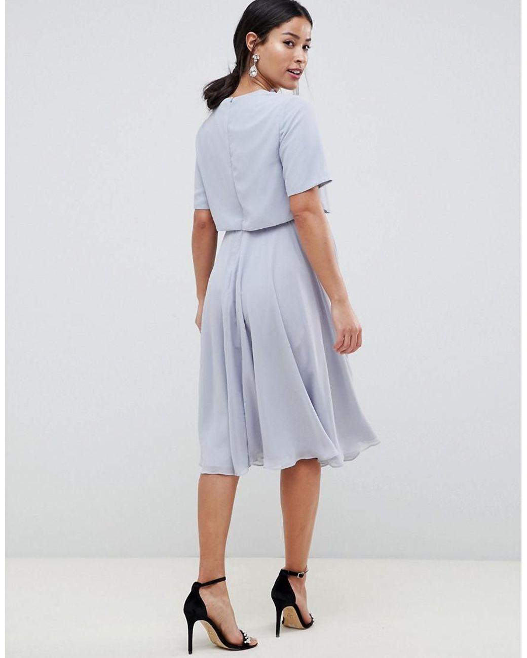 f3b21cb75338 ASOS Asos Design Maternity Nursing 3d Embellished Crop Top Midi Skater Dress  in Blue - Lyst