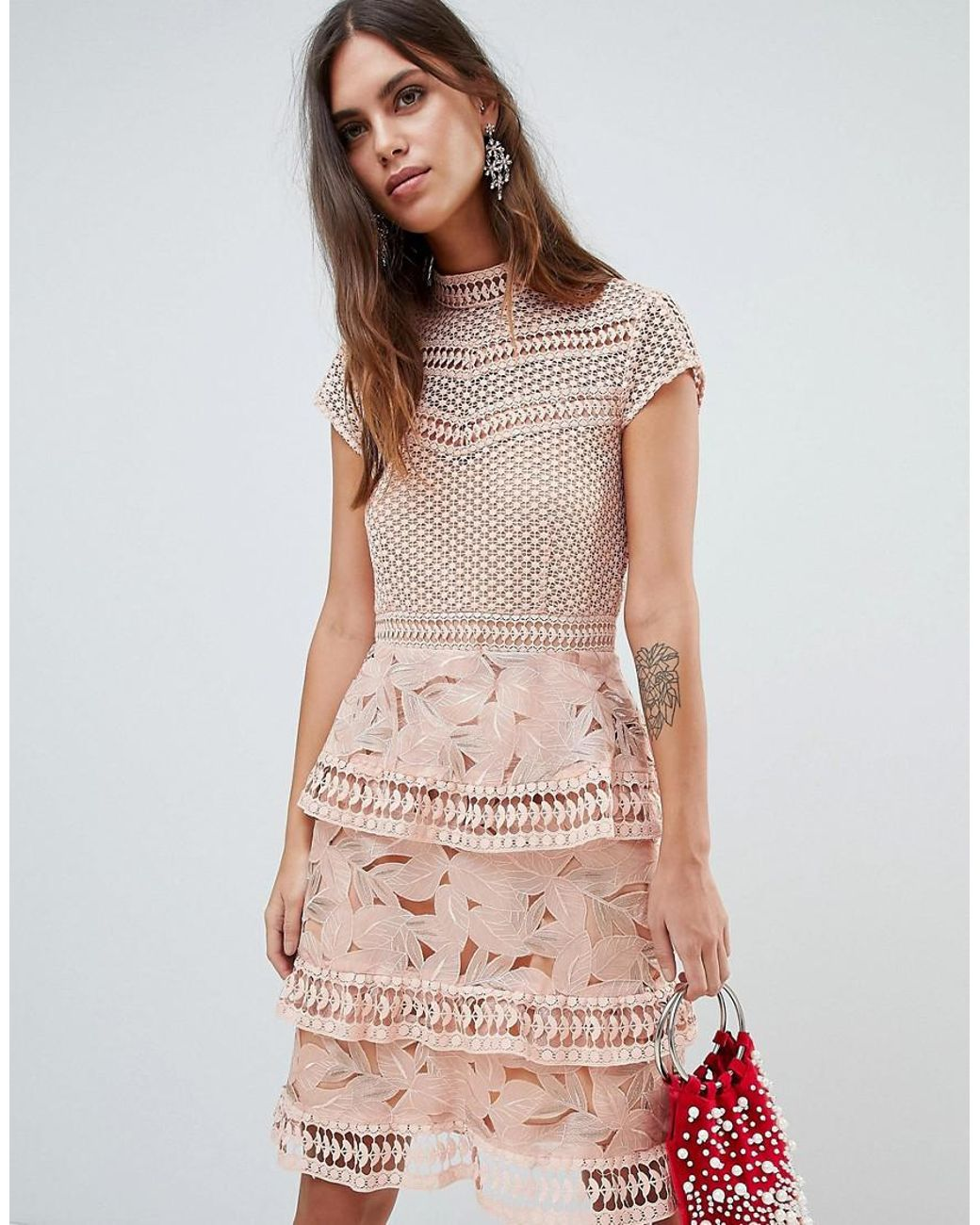 Dress With Tiered Lace Detailed Mini Skirt In Pink