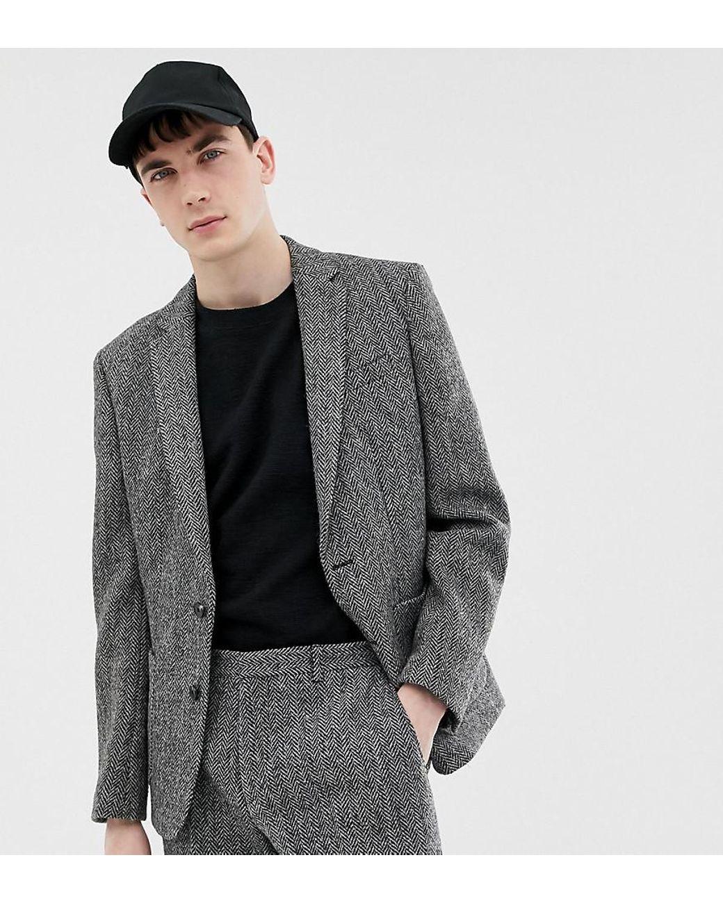 Slim Fit Harris Tweed Suit Jacket In Gray