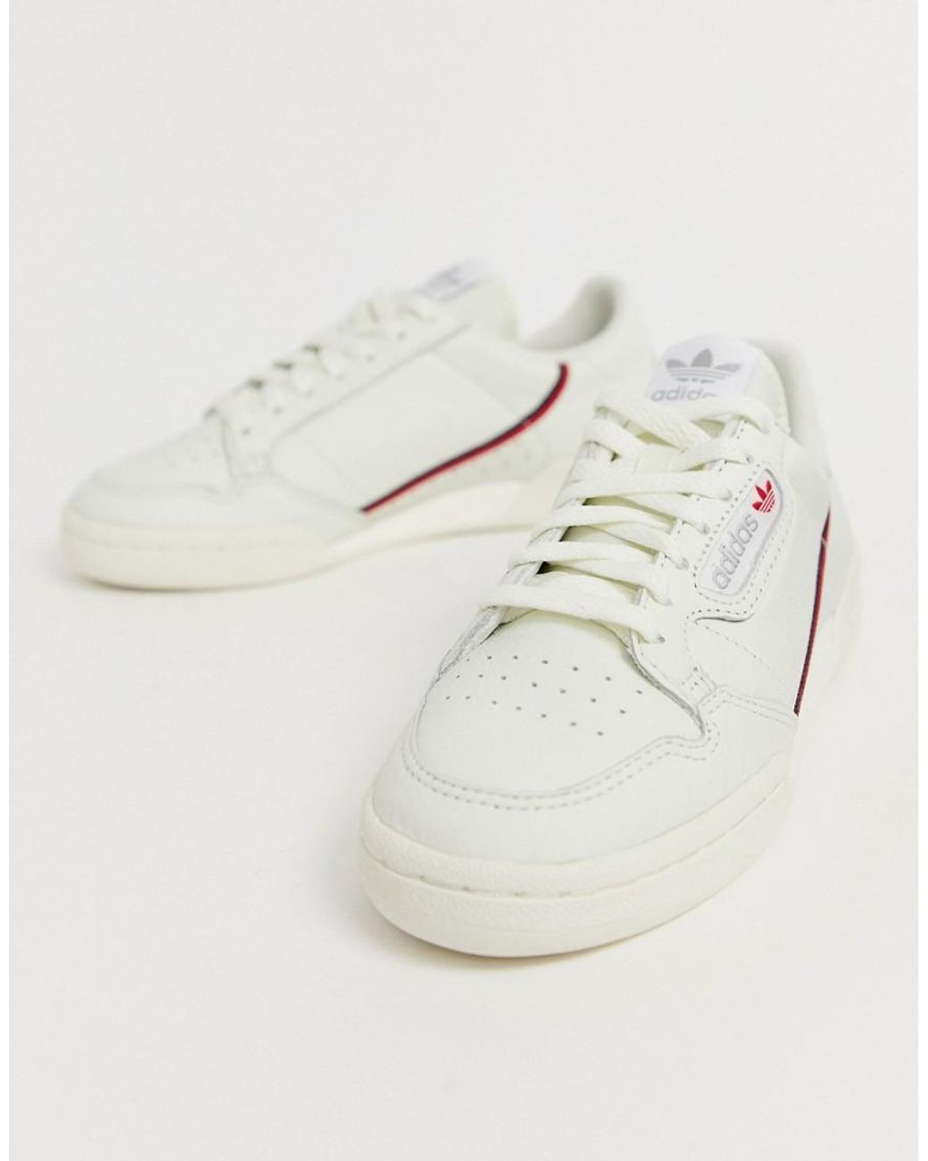 Continental 80's Trainers In Off White And Red