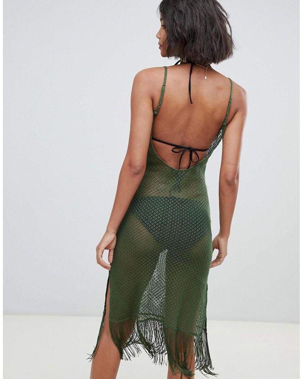 cfd3b8250736 Akasa Exclusive Loose Knit Mesh Beach Dress In Khaki in Green - Lyst