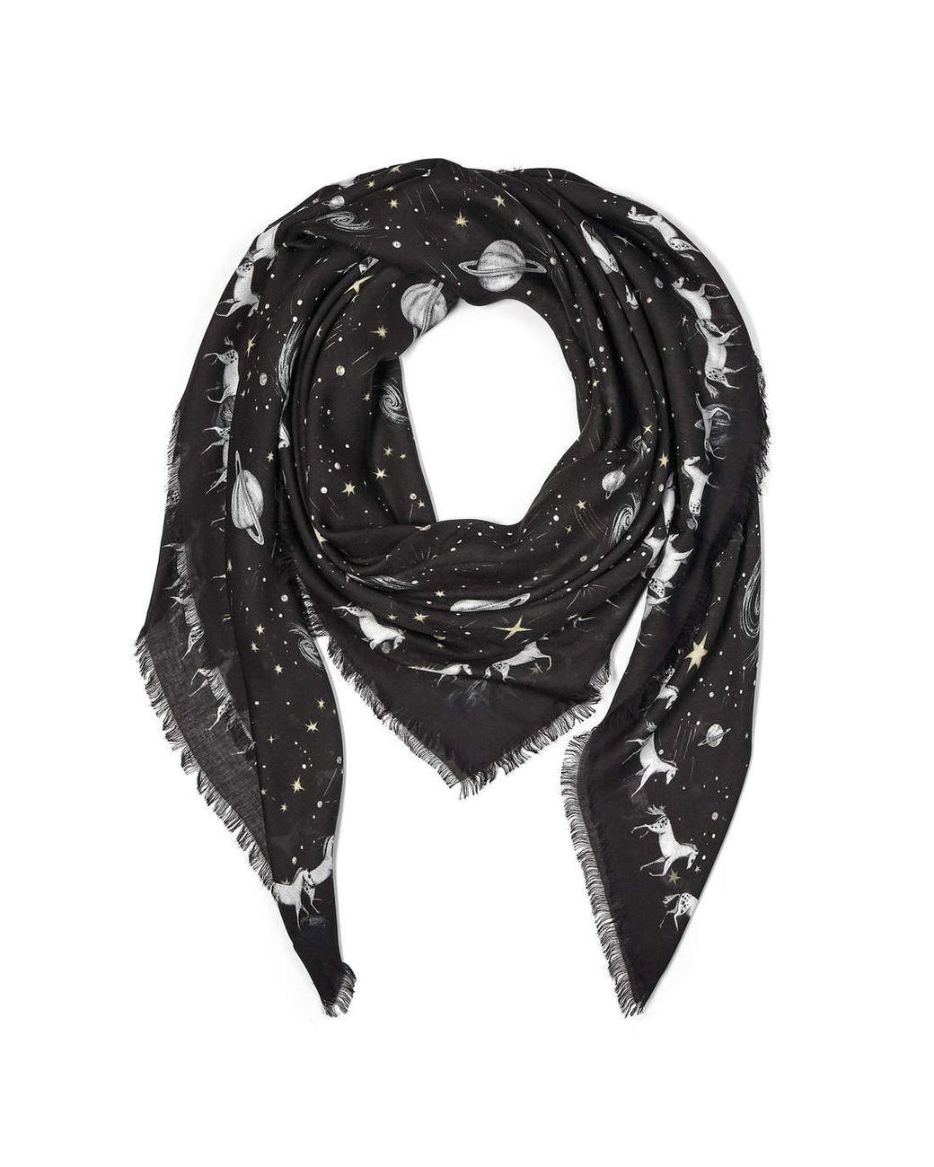 6510bf57cc95e Aspinal of London Ladies Versatile Black Pegasus Constellation Cashmere  Blend Scarf in Black - Save 24% - Lyst