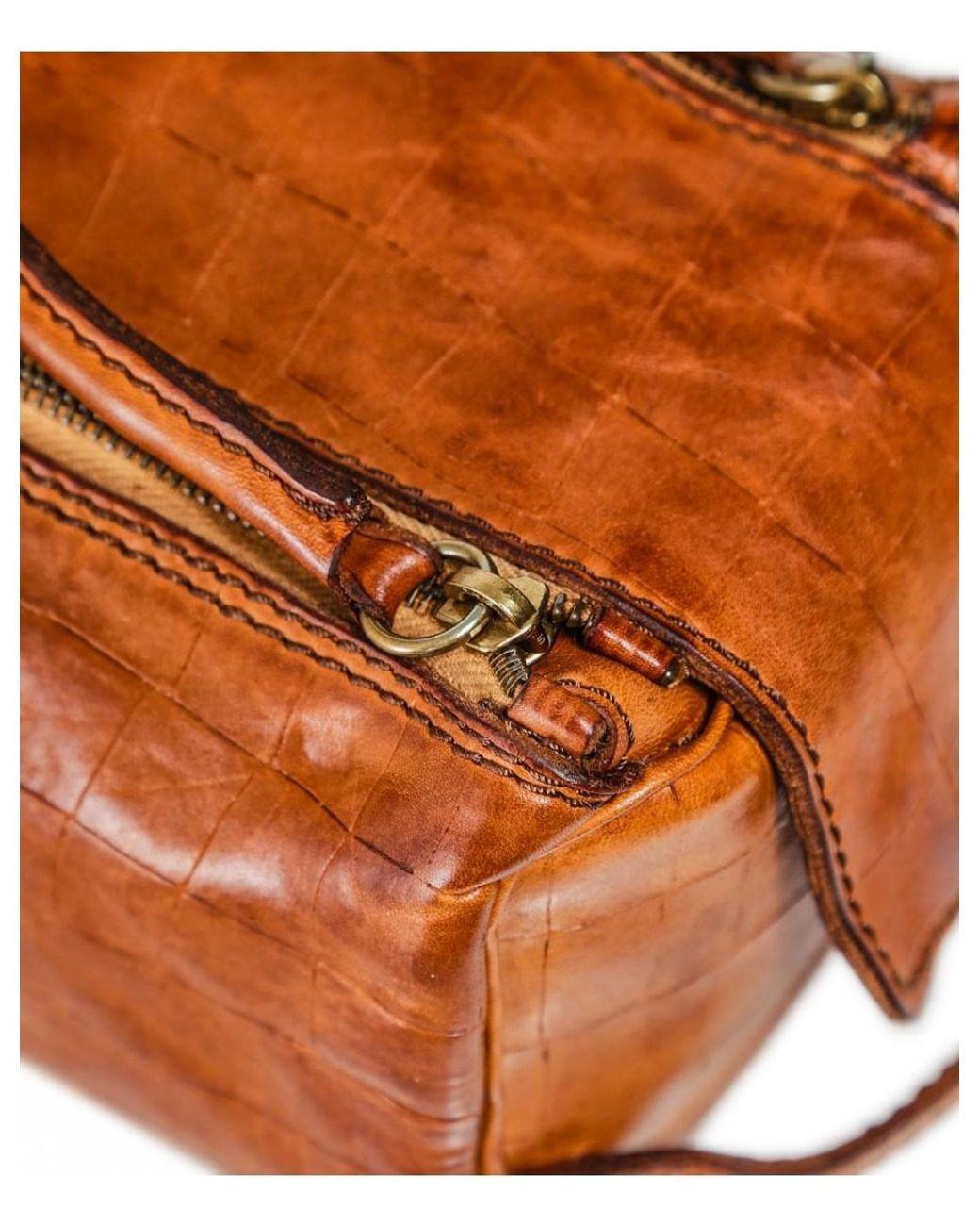 Campomaggi Men/'s Leather Mock Croc Pouch