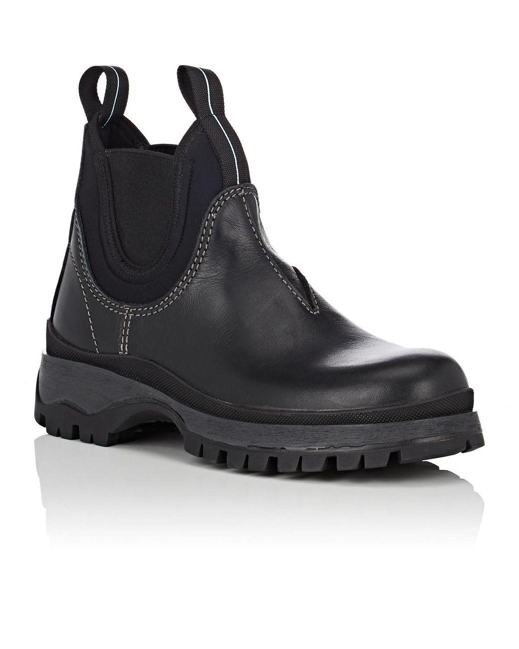 da62cbc7960 Women's Black Lug-sole Leather & Neoprene Chelsea Boots