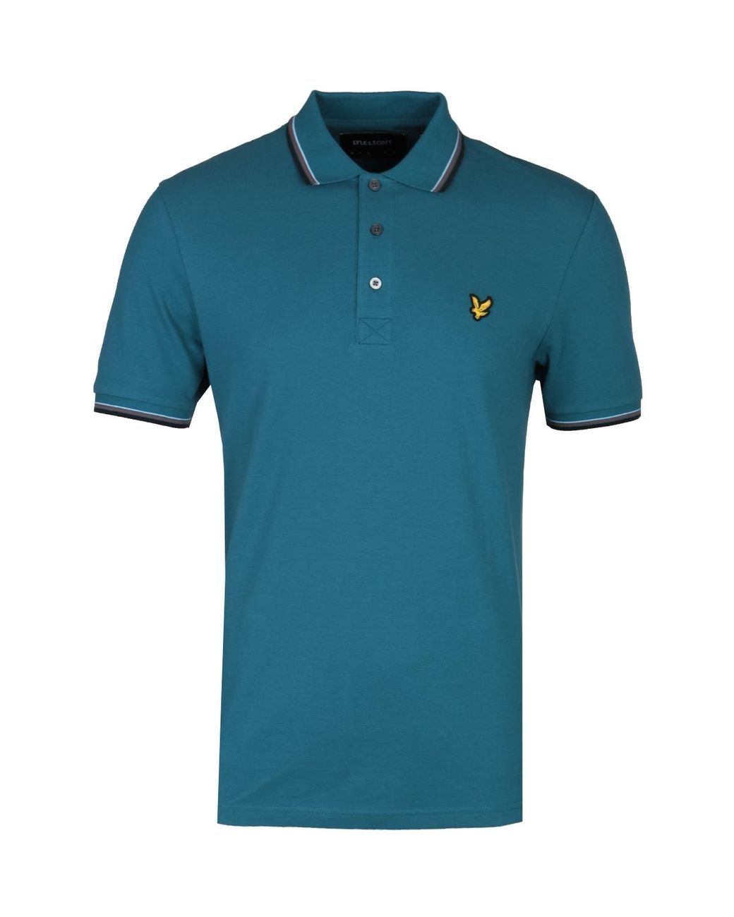 Lyle /& Scott Long Sleeve Tipped Teal Polo Shirt