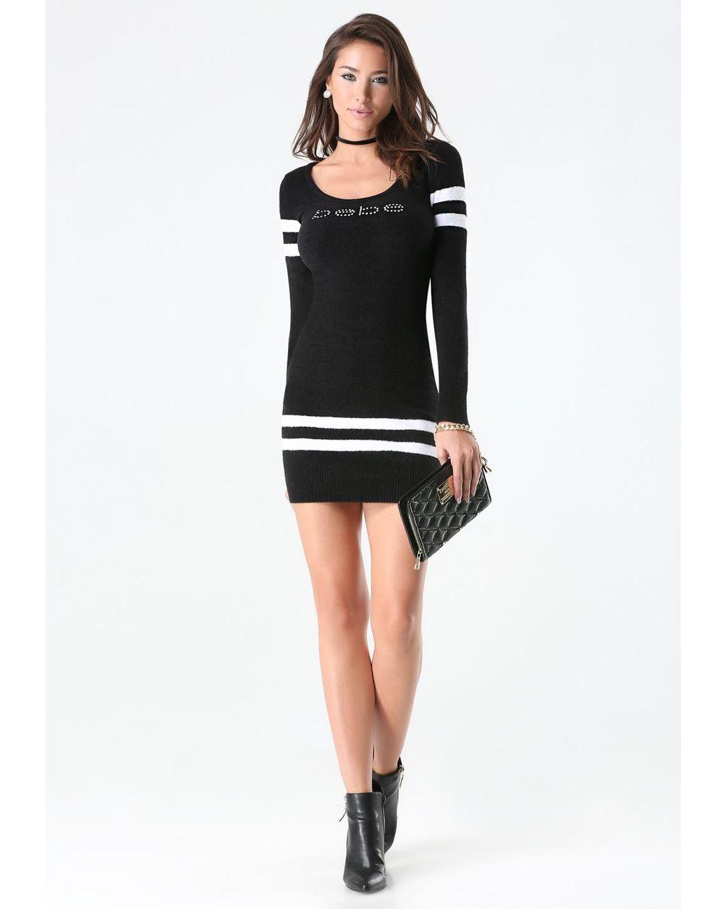 bebe striped chenille dress in black lyst