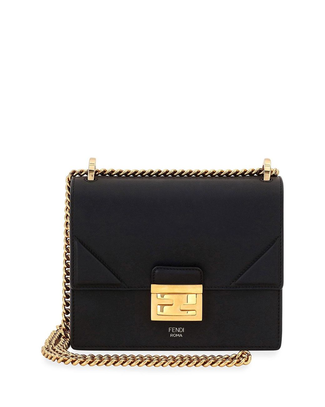 another chance the cheapest hot product Fendi Kan Old Shiny Leather Crossbody Bag in Black - Lyst