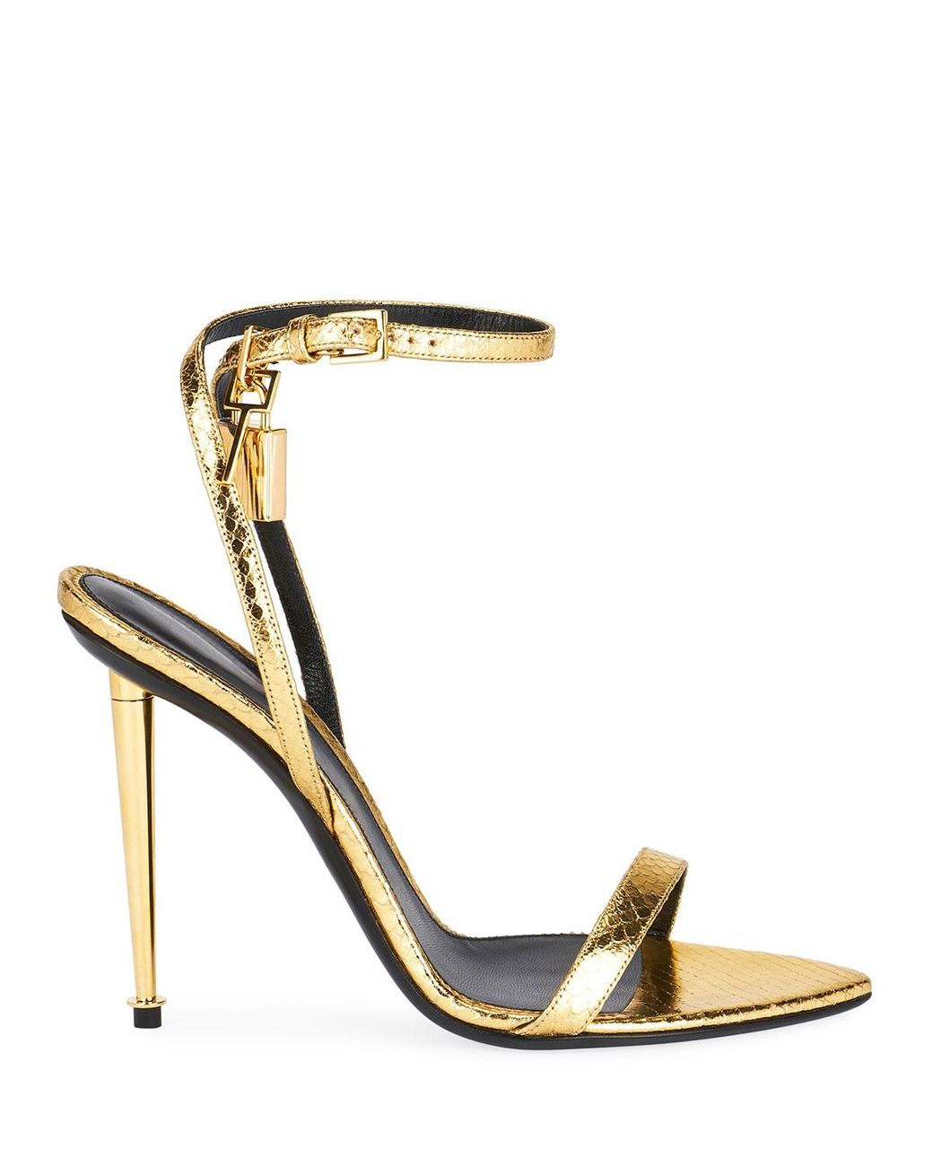 TOM FORD CHROMED Gold leather strappy high heel ankle strap