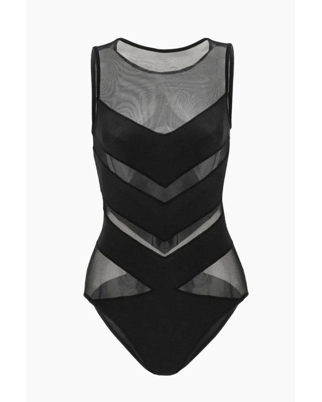 bc5669fff2b Lyst - OYE Swimwear Shaw Chevron Mesh One Piece Swimsuit - Black in Black