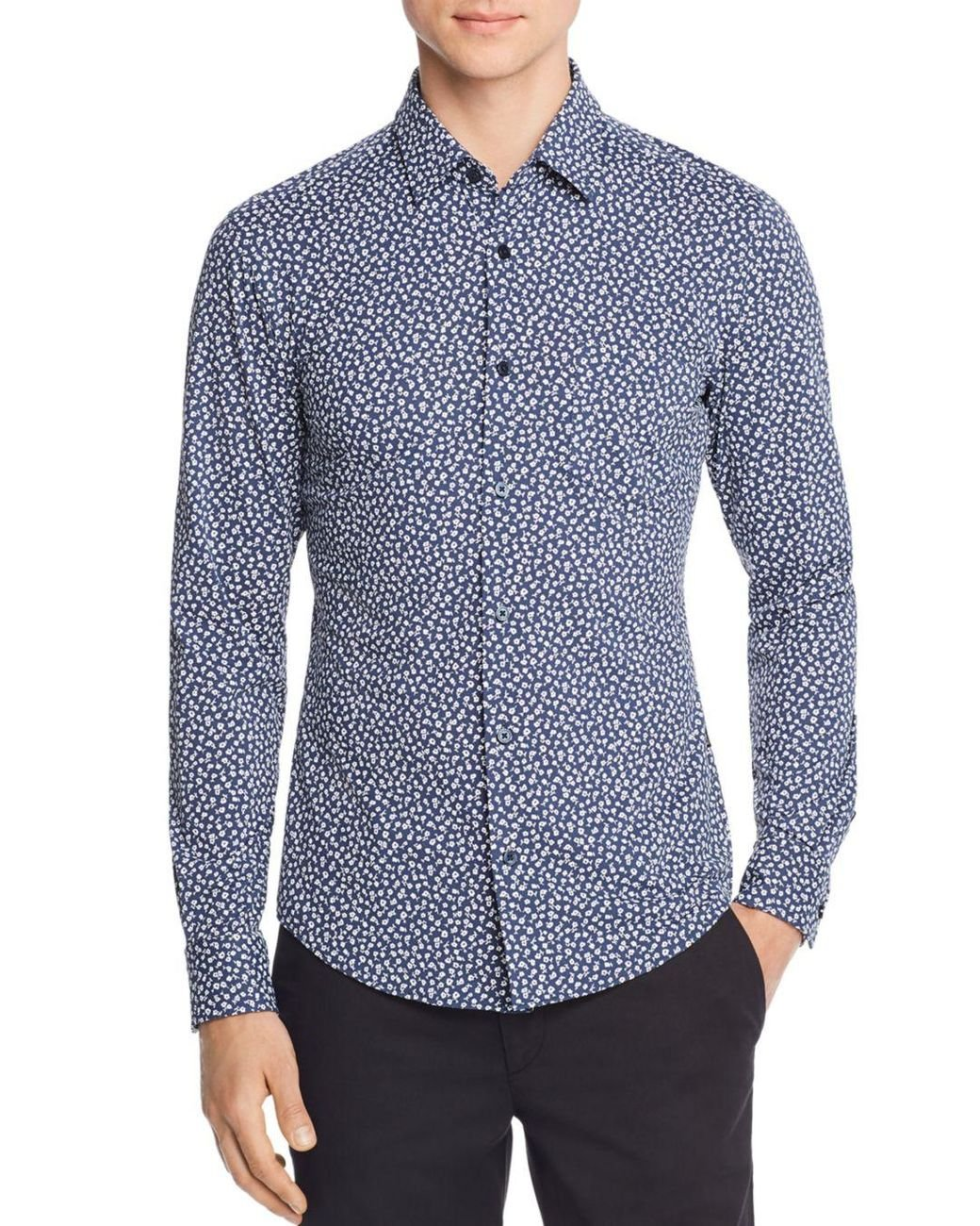 61d85a9c BOSS Ronni Floral - Print Jersey Slim Fit Shirt in Blue for Men - Lyst