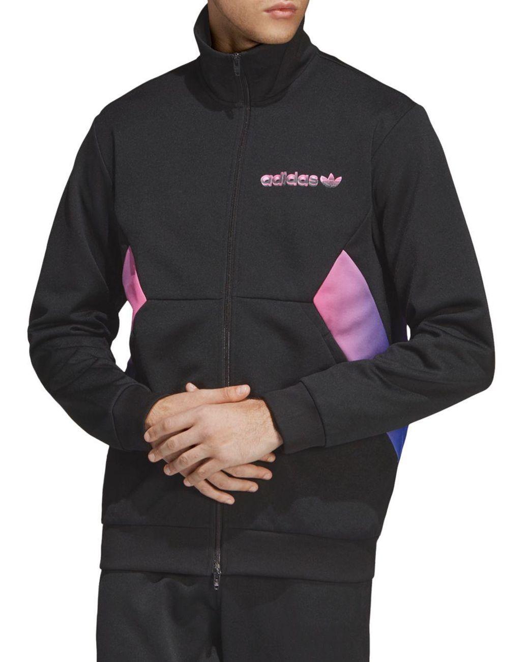 Men's Black Degrade Colour Block Track Jacket