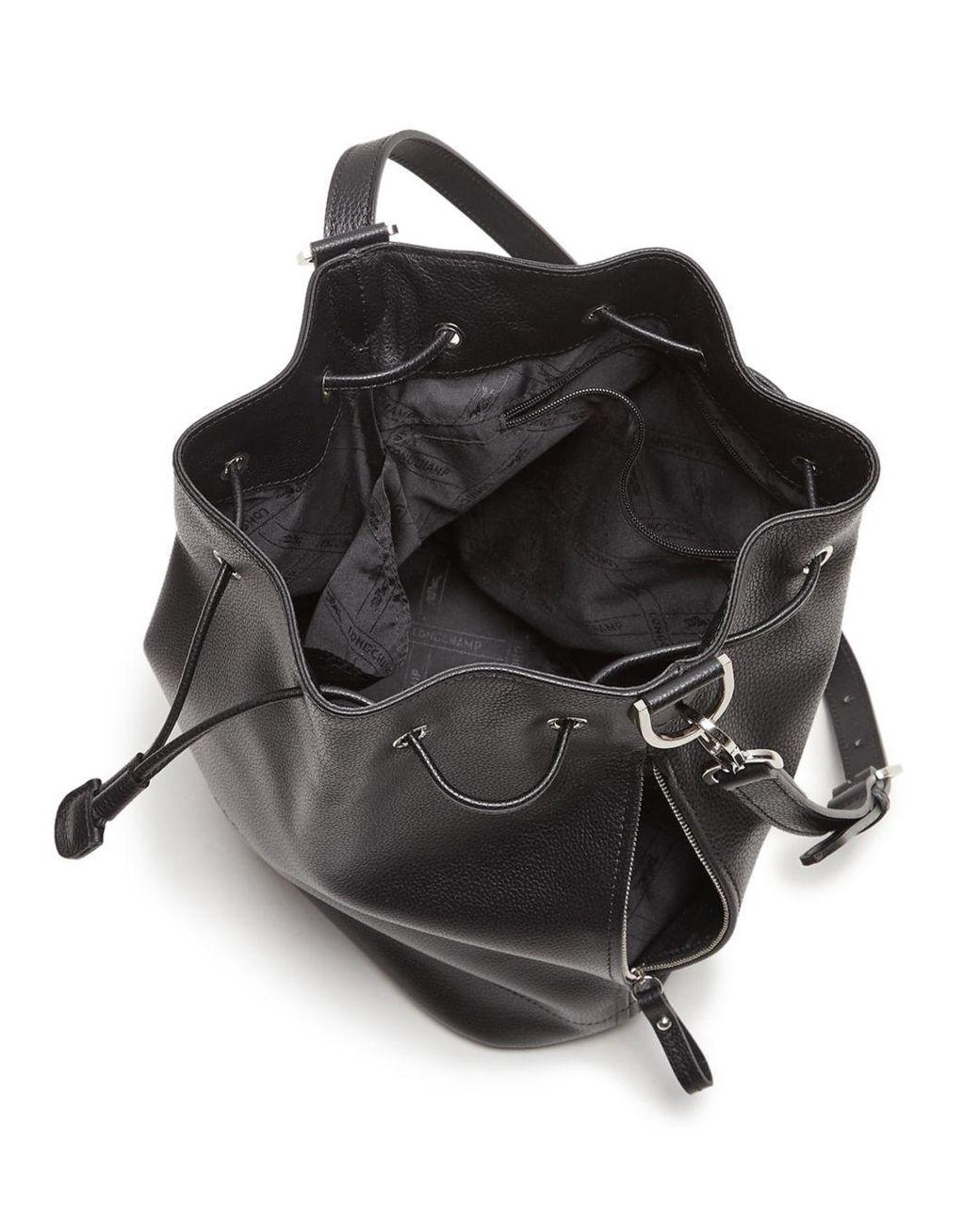 Longchamp Le Foulonne Leather Bucket Bag in Black/Silver (Black ...